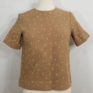 COS Tan Polka Dot Wool Polka Dot Structured Top 2